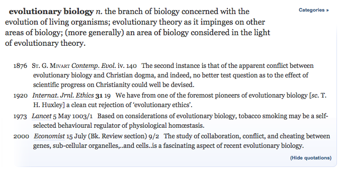 "Screenshot of the OED entry for ""evolutionary biology."""
